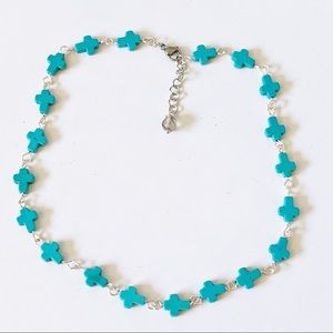 Jewelry - Saved By Grace Howlite Cross Choker in Turquoise
